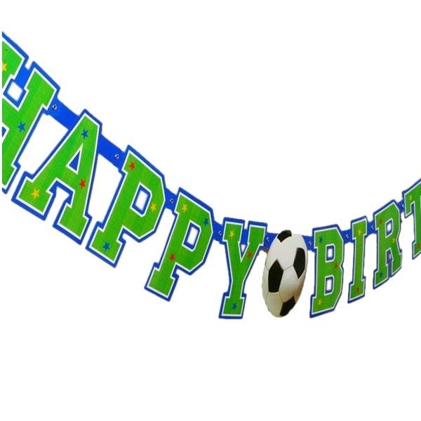 Fußball Buchstabenkette HAPPY BIRTHDAY 156cm, coole Partykette, Pappe