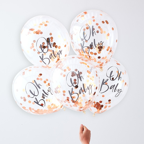 "Babyparty ""Oh Baby"" Konfetti Ballons, 5 Stk, Ø 30cm, Twinkle Twinkle"