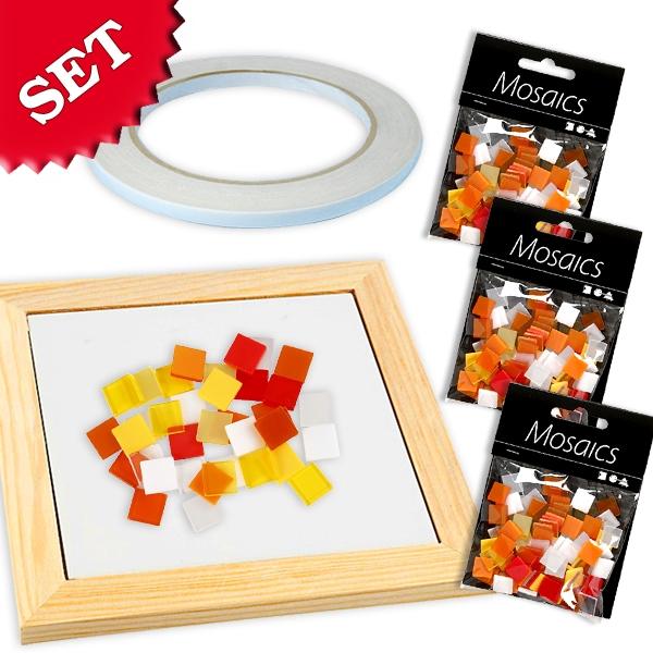 Mosaik Bastelset Mix Orange/Gelb, 300 Mosaiksteine und Klebeband