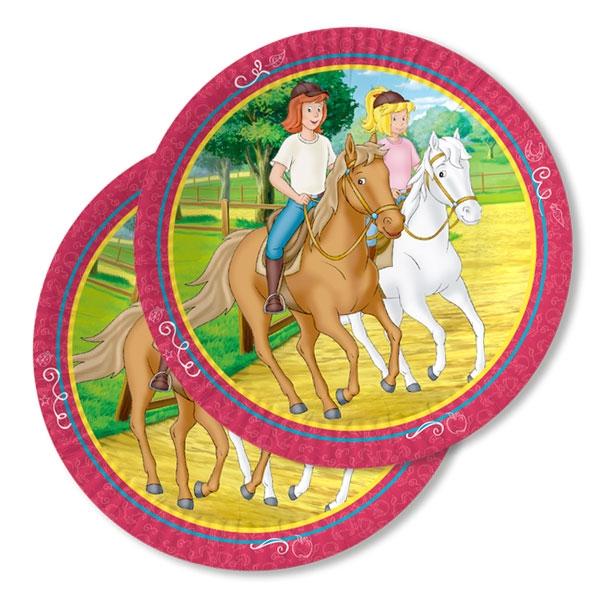 Bibi und Tina Pappteller, 8er,23cm auf den Pferden Amadeus & Sabrina