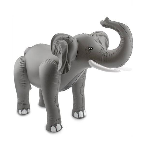 Elefant, aufblasbares Dekotier,75cm, eindrucksvolle Dschungelparty-Deko