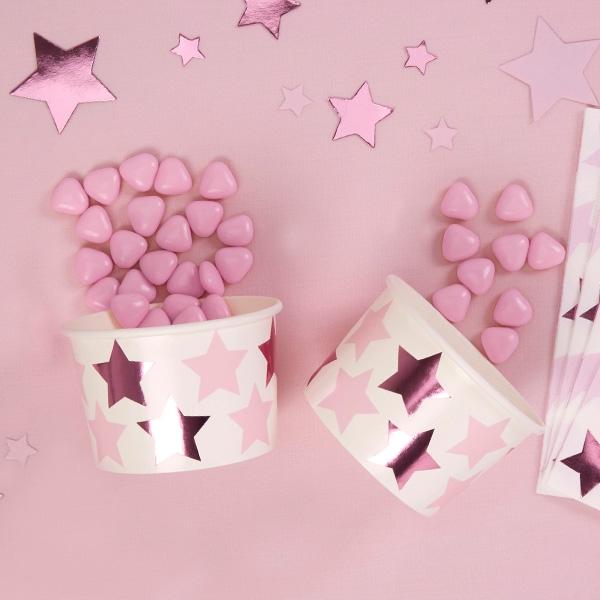 """8 Snack-Eis-Becher """"Kleiner Stern"""" in rosa, zur Babyparty und Baby Shower"""