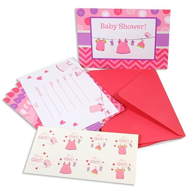 It`s a girl - Einladungskarten plus Umschläge u. Sticker, rosa, Babyparty