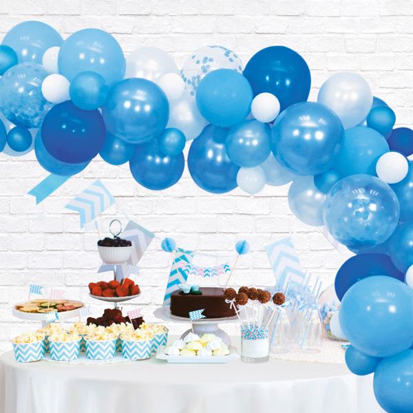 Ballongirlande zum selber basteln, blau, 71-teilig