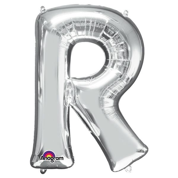 """Folienballon Buchstabe """"R"""" - in Silber zum Personalisieren, 58 × 81 cm"""