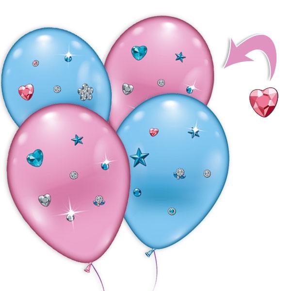 4 Luftballons mit Strass-Steinchen, pink + blau, Ø 23-25cm