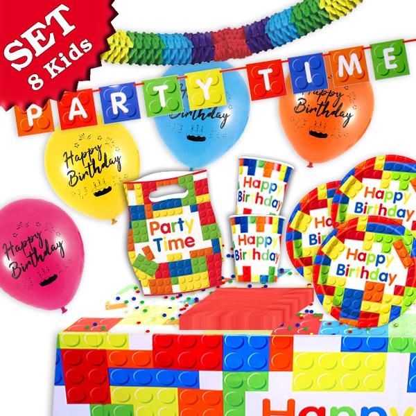 Bausteine Dekoset 56-tlg., für 8 Kids, Tischdeko, Ballons, Girlanden…