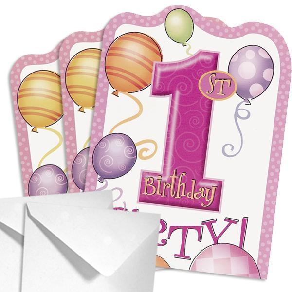 Einladungen 1. Birthday Girl zum 1. Kindergeburtstag Mädchen, 8 Stk.