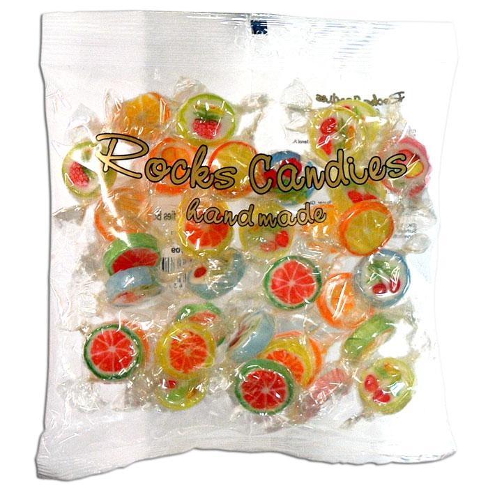 Rocks Bonbons, verschiedene bunte Frucht-Motive und Geschmacksrichtungen, 150g-Beutel