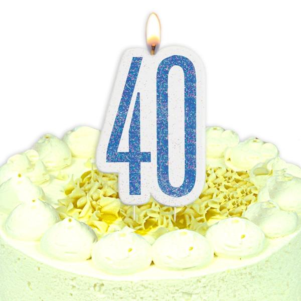 Geburtstagskerze Zahl 40, in glitzerndem Blau für Mann