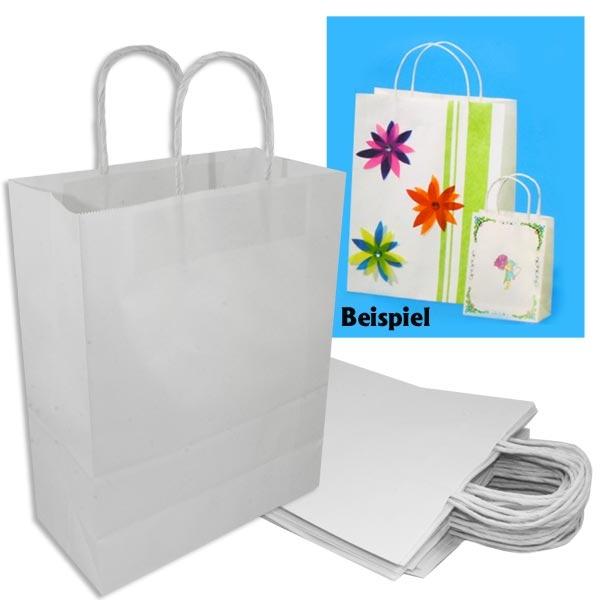 20 Weiße Papiertaschen GROß, starkes Material, 24x12x31cm, zum Gestalten