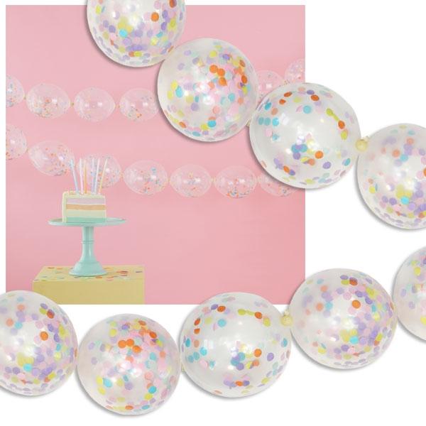 Pastell Party Ballongirlande, 24 Ballons mit Konfetti, 3m