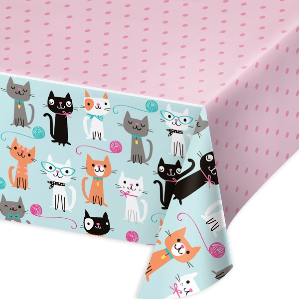 Kätzchen Partytischdecke 2,6×1,4m, Folientischdecke Katzen-Mottoparty