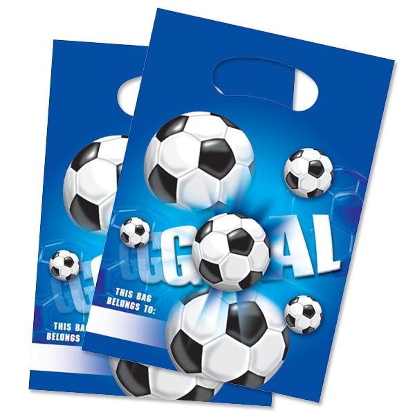 Fußball Geschenktüten 6 Stk., Folie, mit Aufdruck GOAL und Fußbällen