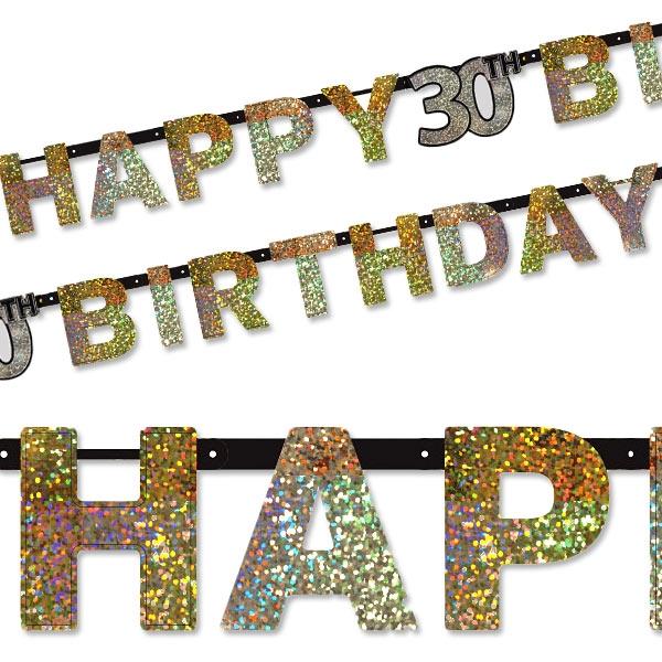 Sparkling Celebr. Golden Zahl 30 Happy Birthday-Kette, 2,1m