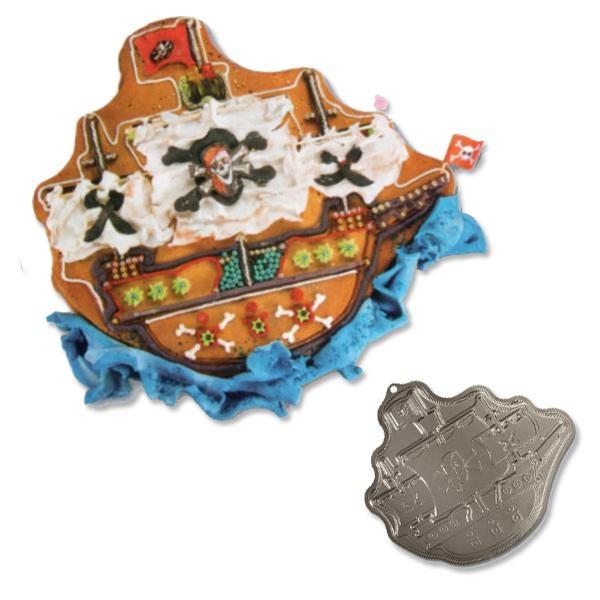 Kuchenform Piratenschiff 33 × 31 cm, Backform für Piratenkuchen, Metall