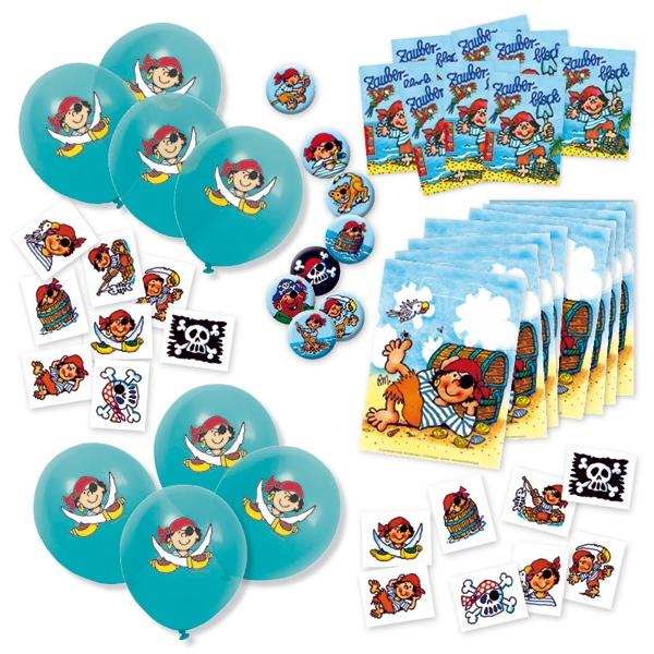 Piraten Mitgebselset mit Tattoos, Stickern, Buttons, Ballons etc., 48 tlg.
