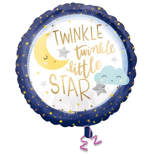 Twinkle - Little Star Folieballon, heliumgeeignet, Ø 35cm, Babyparty