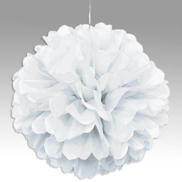 Puffball in Weiß mit Band, weißer Pompom f. Hochzeit/Birthday 40cm