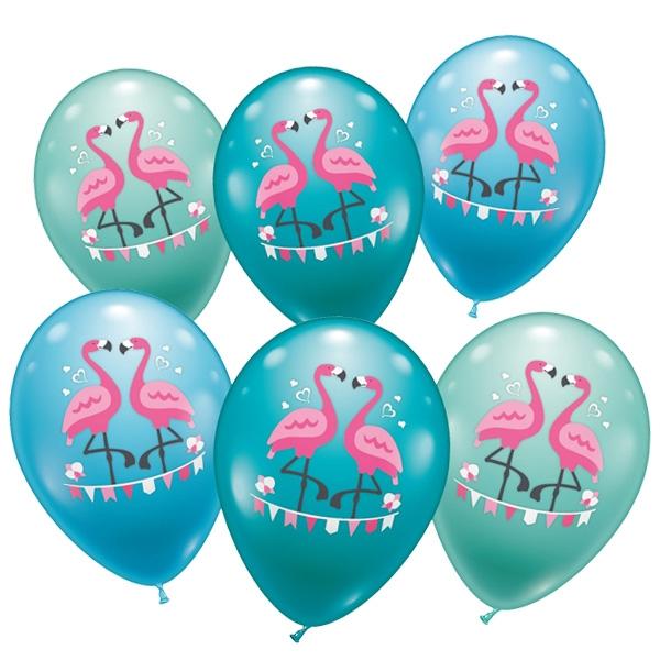 Flamingo Ballons im 6er Pack, Latexballons mit Flamingopaar, 30cm