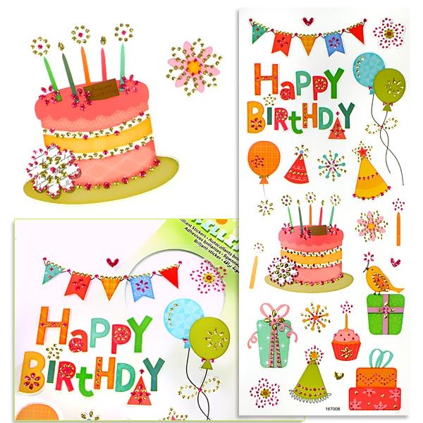 Sticker Brilliant-Party mit Happy Birthday-Motiven, glitzernd, 1 Karte