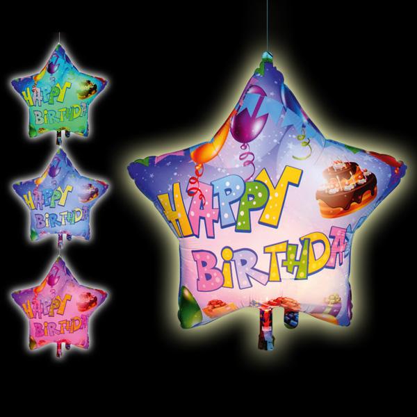 Happy Birthday Gigaloon mit LED, sternförmiger Geschenkballon, 1 Stk.