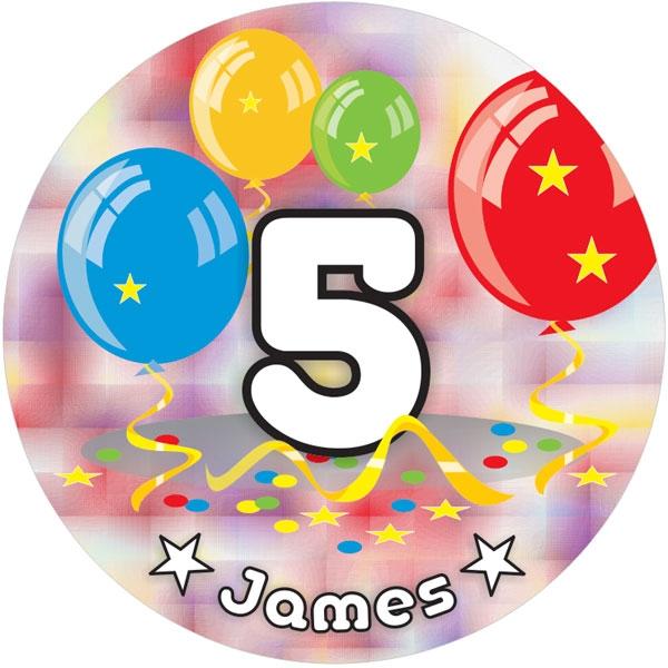 Ballon-Tortenaufleger 5. Geburtstag mit Name, Alter – rund