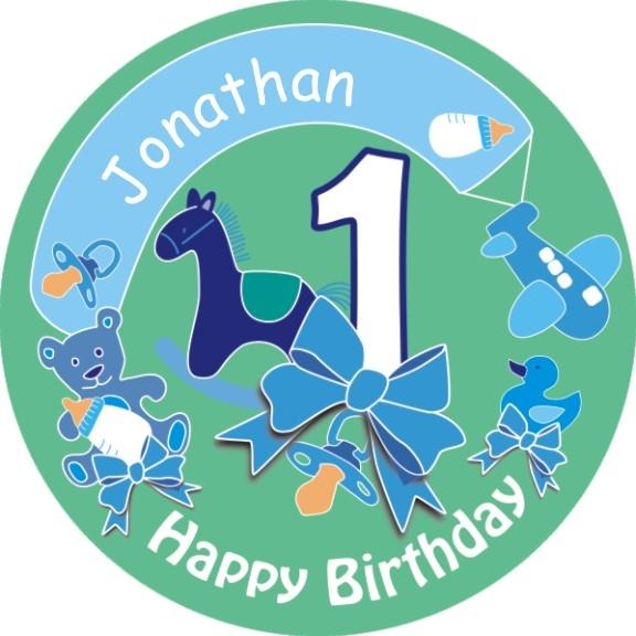 Tortenbild zum 1. Geburtstag Boy mit Vorname – rund