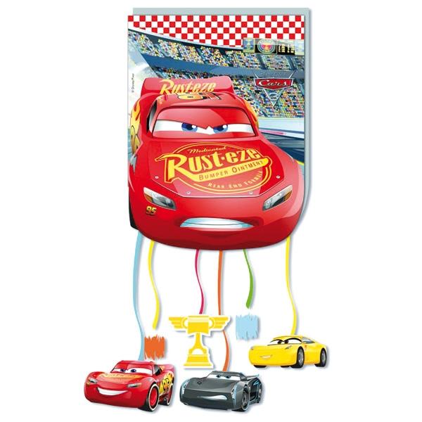 Cars Zugpinata mit 7 Bändern, Rennwagen-Pullpinata zum Ziehen