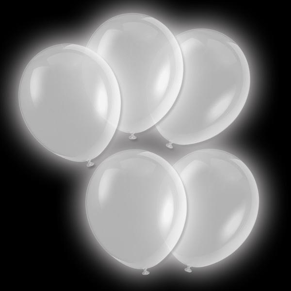 Luftballons LED - 5 Stk, silber leuchtend, 24 h