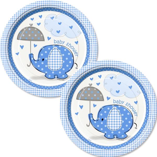 Teller blauer Elefant 8 Stück, 18 cm, Pappteller für Baby Shower Party