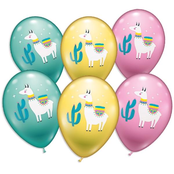 Lama-Luftballons mit stolzem Lama, niedliche Latexballons im 6er Pack