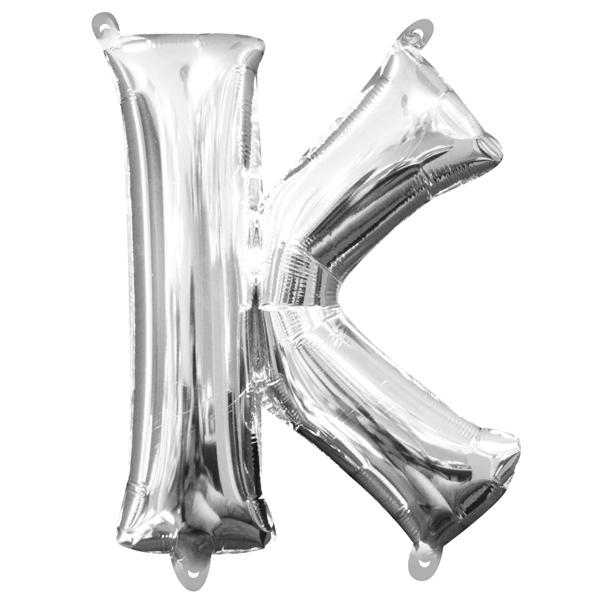 Mini Folienballon Buchstabe K in Silber mit Ösen zum Aufhängen,1 Stk