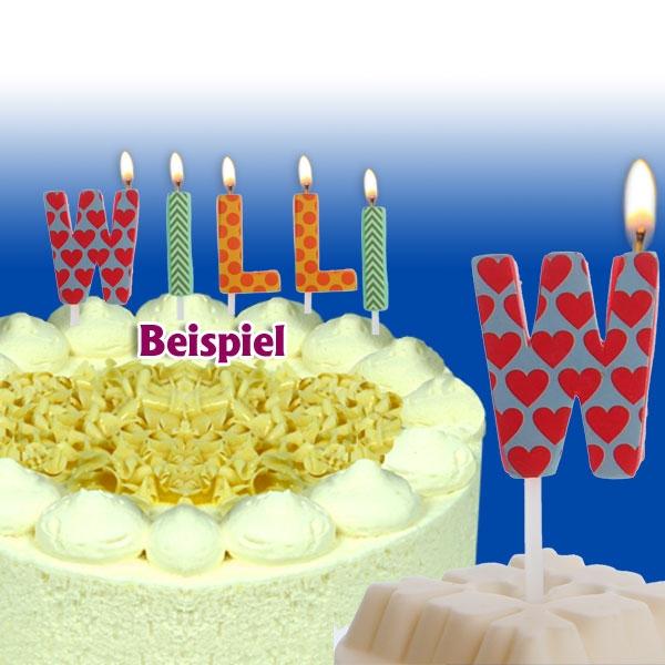Mini Kerze Buchstabe W, Tortenkerze zum Personalisieren, 2,5cm, 1 Stück