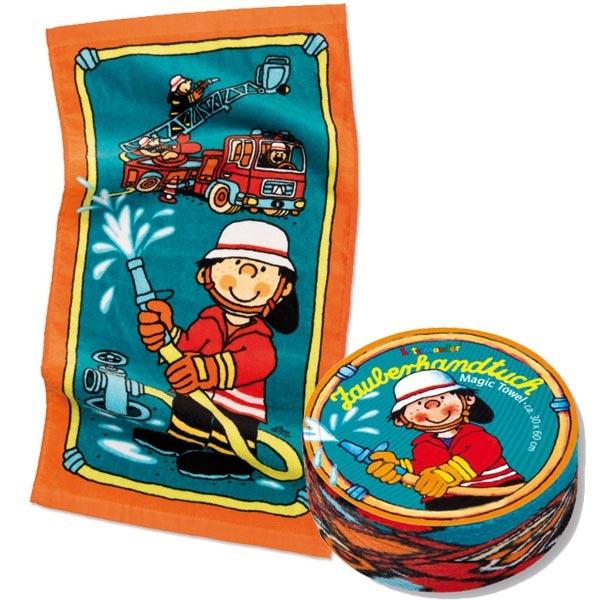 Magisches Handtuch Feuerwehr, Mitgebsel zum Kindergeburtstag, 30x60cm, Baumwolle