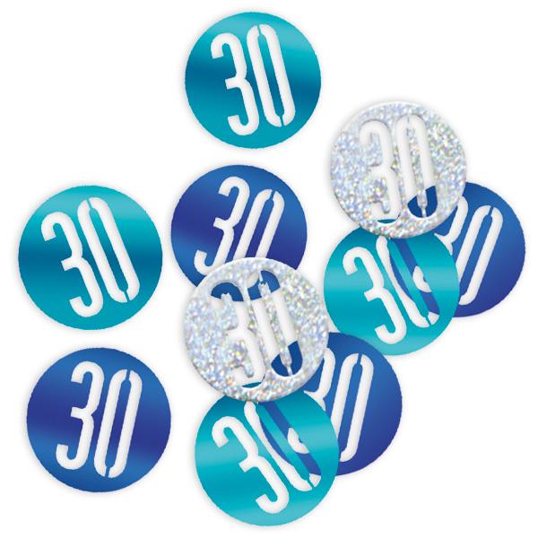 HappyBirthday Glitzerkonfetti als 30, blau-silberne Konfettis