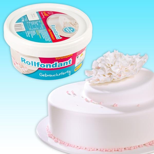 Rollfondant weiß 1 kg Zuckermasse, gebrauchsfertig, von Dekoback