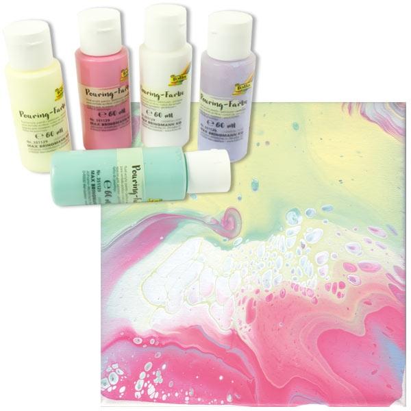Pouring Kreativset PASTELL, 5 Farben, mit Pouring-Medium