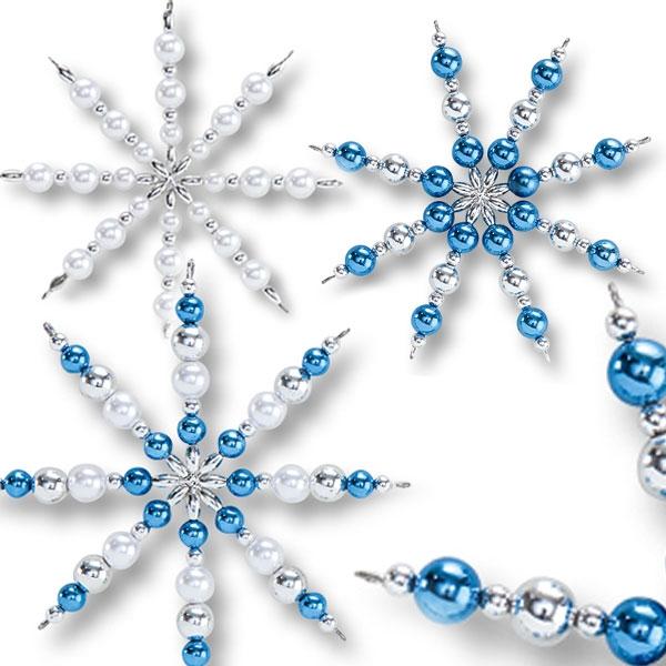 Bastelset für Perlensterne in Blau, viele glänzende Kunststoffperlen