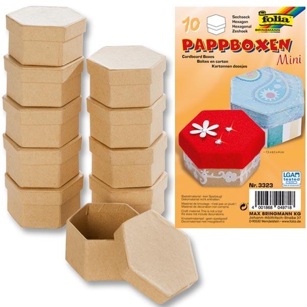 Pappboxen Mini, 10 Stück SECHSECK, 7,5x6,5x4 cm, natur,als Geschenkbox