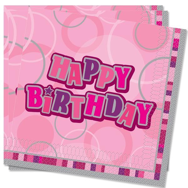 Happy Birthday Servietten, 16 große Geburtstagsservietten 3-lagig, 33cm