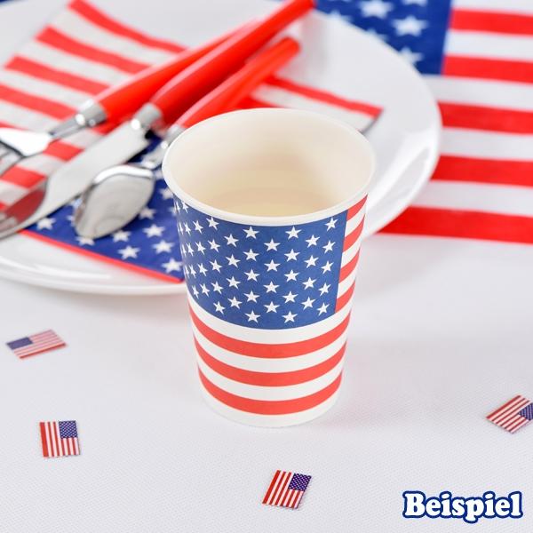 USA Partybecher, 10 Stück, Trinkbecher aus Pappe, 200 ml