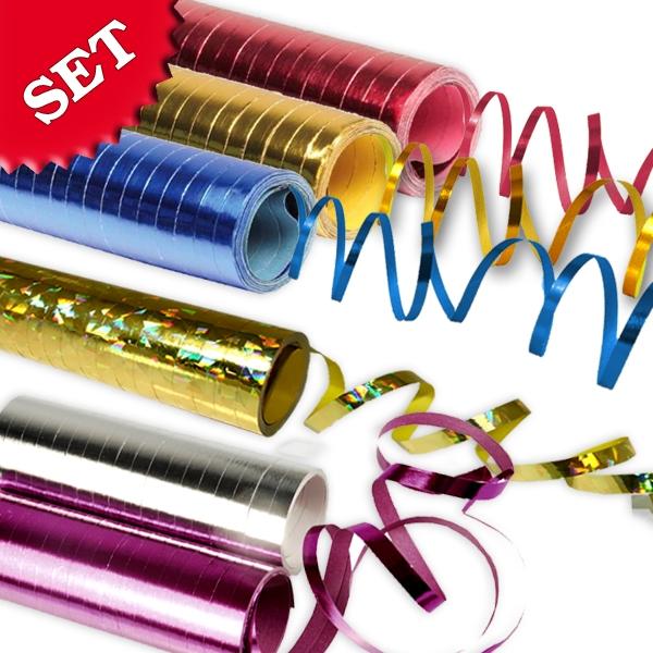 Metallic-Luftschlangen im 6er Set, 6 Rollen, je 18 Röllchen, tolle Farben