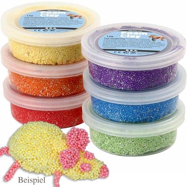 Foam Clay - Schaumstoff Modelliermasse, 6 Dosen zu je 14g, in 6 Farben, lufthärtend