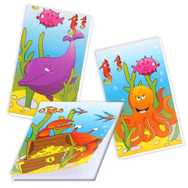 Meerestiere Notizblock, Mitgebsel für Unterwasserwelt-Party, 1 Stück