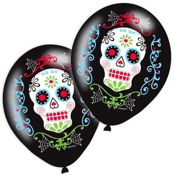 Totentag Ballons, 6 Stk, mit Totenkopf-Design