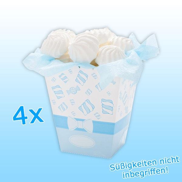 Snack-Box, hellblau, 4 Stück, 15cm, Popcorntüten ohne Inhalt, Papier