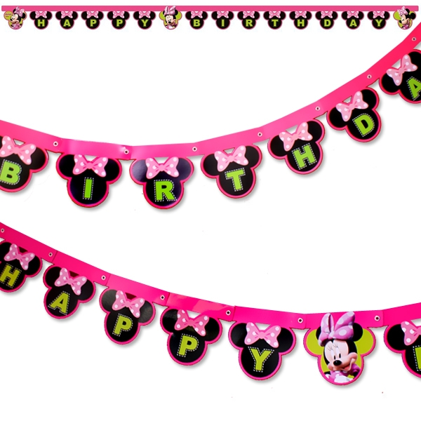 Minnie Buchstabenkette, 2m, Happy Birthday Partykette Minnie Mouse