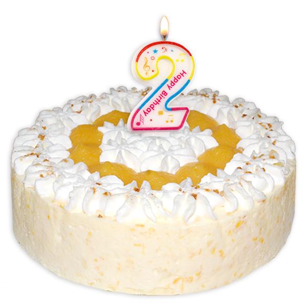 "Zahlenkerze ""2"" mit Happy-Birthday-Aufdruck"