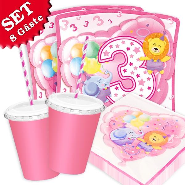3. Geburtstag Safari - Basic Set, 66-teilig in rosa für bis zu 8 Kids